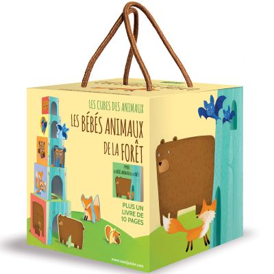 Livre et cubes empilables Les bébés animaux de la forêt