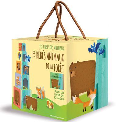 Livre et cubes empilables Les bébés animaux de la forêt Sassi Junior