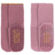 Lot de 2 paires de chaussettes antidérapantes en coton bio rose (pointure 23-26)