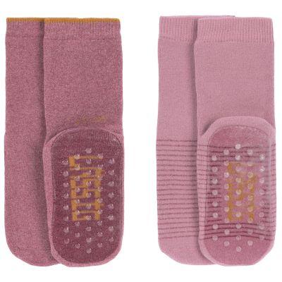 Lot de 2 paires de chaussettes antidérapantes en coton bio rose (pointure 23-26)  par Lässig