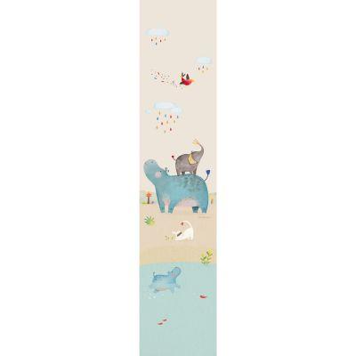 Décor mural Hippopotame Les Papoum bleu et beige (2,8 m)  par Moulin Roty