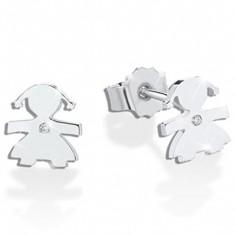 Boucles d'oreilles Briciole fille (or blanc 750° et diamant)