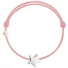 Bracelet cordon Etoile et perle rose poudré (or blanc 750°)