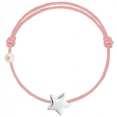Bracelet cordon Etoile et perle rose poudré (or blanc 750°)  par Claverin
