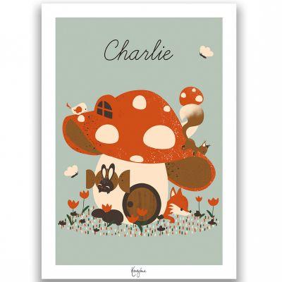 Affiche A4 La maison champignon (personnalisable)  par Kanzilue
