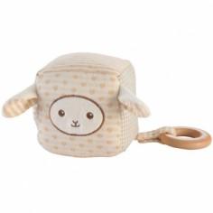 Cube d'éveil mouton avec anneau bois