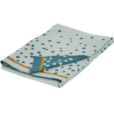 Couverture en coton Jacquard tricotée Happy Dots bleu et doré (80 x 100 cm)  par Done by Deer