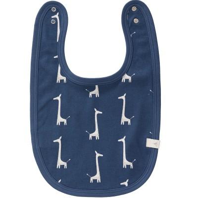 Bavoir à pression Girafe bleu indigo  par Fresk