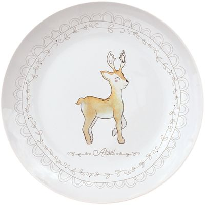 Assiette en porcelaine Renne (personnalisable)  par Gaëlle Duval