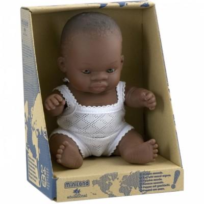 Poupée bébé fille Africaine (21 cm) Miniland