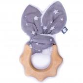 Anneau de dentition en bois Etoiles gris et blanc - BB & Co