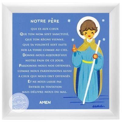 Tableau religieux Prière Notre Père bleu (15 x 15 cm)  par Atelier de Rosbo