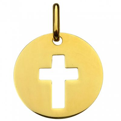 Médaille ronde ajourée symbole Croix 16 mm (or jaune 750°)  par Premiers Bijoux
