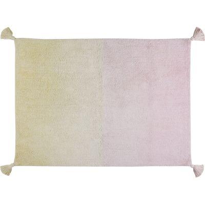 Tapis lavable dégradé avec pompons vanille rose (120 x 160 cm)  par Lorena Canals