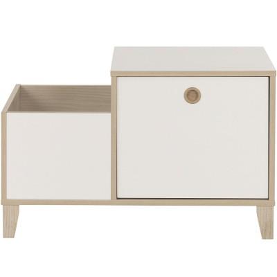 Coffre 2 niches 1 tiroir amovible blanc Lora  par Galipette