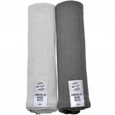 Lot de 2 maxi langes anthracite et gris clair (120 x 120 cm)