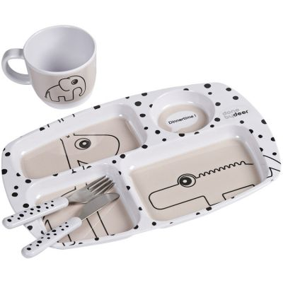 Coffret premier repas Happy Dots rose  par Done by Deer