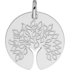 Médaille ronde Arbre de vie tronc ajouré (or blanc 750°)