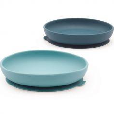 Lot de 2 assiettes à ventouse en silicone lagoon/ blue abyss