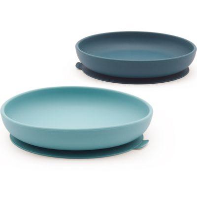 Lot de 2 assiettes à ventouse en silicone lagoon/ blue abyss  par EKOBO