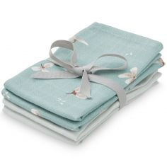 Lot de 4 mini langes en coton bio Windflower Blue/Etoile (30 x 30 cm)