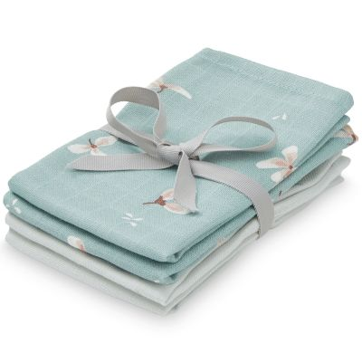 Lot de 4 mini langes en coton bio Windflower Blue/Etoile (30 x 30 cm)  par Cam Cam Copenhagen