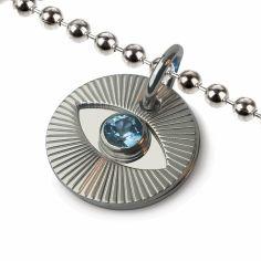 Collier sur chaîne boule avec topaze bleue Cyclope (argent 925°)