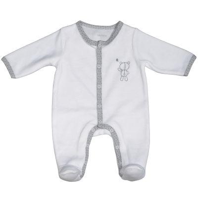 Pyjama chaud blanc nounours Céleste (1 mois)  par Sauthon