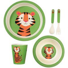 Coffret repas en bambou Teddy le tigre (5 pièces)