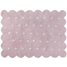 Tapis lavable biscuit rose à pois (120 x 160 cm)