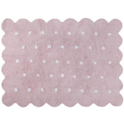 Tapis lavable biscuit rose à pois (120 x 160 cm)  par Lorena Canals