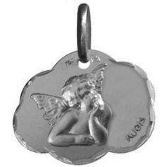Médaille nuage Ange de Raphaël 16 mm facettée (or blanc 375°)