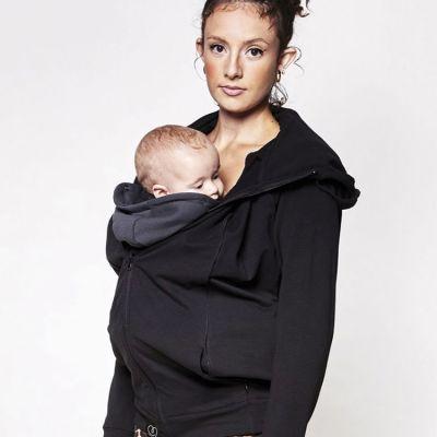 Sweat du parent pour porte bébé noir (taille XS) Je Porte Mon Bébé / Love Radius