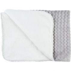 Couverture bicolore Groloudoux Mix & Match gris clair et écrue (75 x 100 cm)