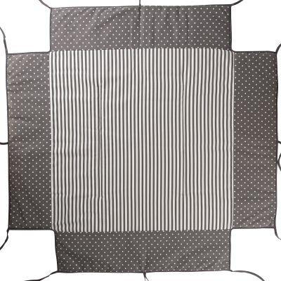 Tour de parc avec tapis molletonné pois gris Belami  par Geuther