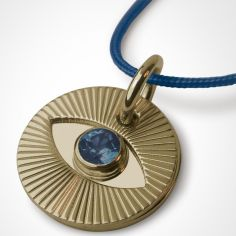 Collier cordon Cyclope avec saphir bleu (or jaune 750°)