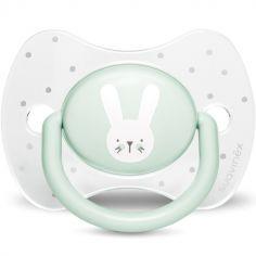 Sucette anatomique réversible Hygge Baby lapin vert (0-6 mois)