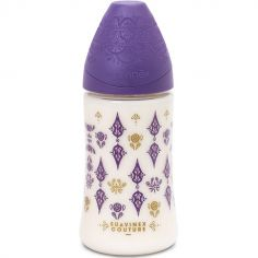 Biberon Couture Ethnic 3 vitesses violet et doré (270 ml)
