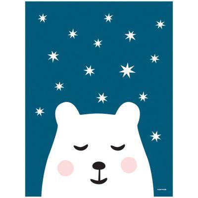Affiche ours Polar night (40 x 30 cm)  par Roommate