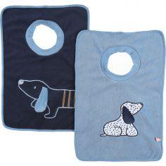 Lot de 2 bavoirs passe-tête Funny Aston & Jack chien bleu