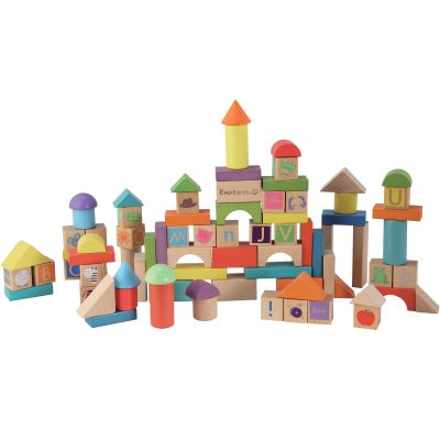 Blocs de construction en bois (80 pièces) EverEarth