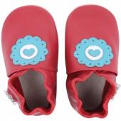 Chaussons en cuir Soft soles rouge dolie (3-9 mois) - Bobux