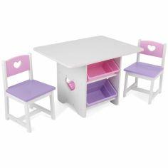 Ensemble table avec 4 bacs de rangement et 2 chaises rose et violet
