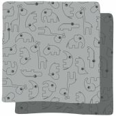Lot de 2 maxi langes Contour gris (120 x 120 cm)                        - Done by Deer
