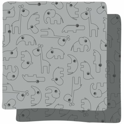Lot de 2 maxi langes Contour gris (120 x 120 cm)                         par Done by Deer