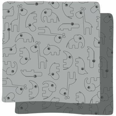 Lot de 2 maxi langes Contour gris (120 x 120 cm)                         par Done by Deer