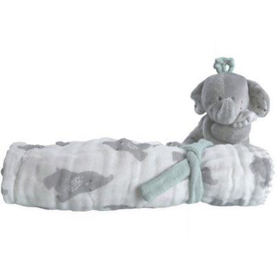 Ma première couverture Eléphant gris (50 x 50 cm)  par Noukie's