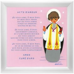 Tableau religieux Prière Acte d'Amour rose (15 x 15 cm)