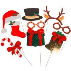 Accessoires pour photos Noël Tartan (9 pièces)