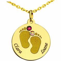 Médaille ronde pieds bébé avec Swarovski (or jaune 375°)